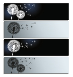 Set of banners with black and white dandelion vector image