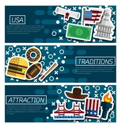 Set of Horizontal Banners about USA vector