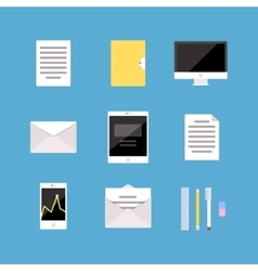 Set of Office and Business icons letter tablet vector image
