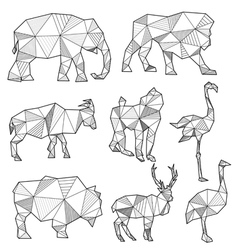 Set origami animal silhouettes vector