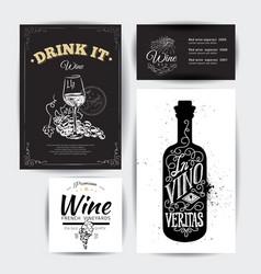 set vintage wine typographic quotes vector image