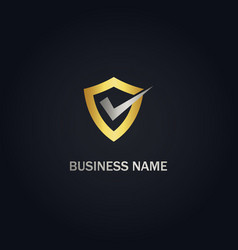 shield protect check mark gold logo vector image