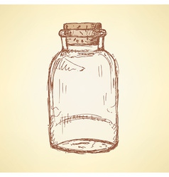 Sketch jar with cork in vintage style vector