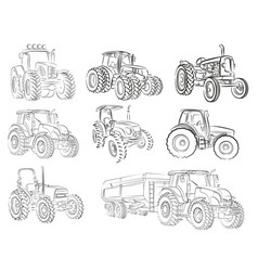 Sketches of tractors vector