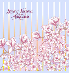 Spring background with sakura blossom trees vector