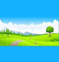 Summer landscape with meadow flowers and mountains vector