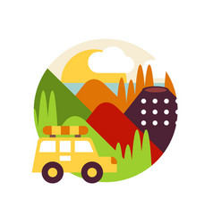 Summer mountain landscape with car in logo circle vector