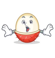 surprised rambutan mascot cartoon style vector image