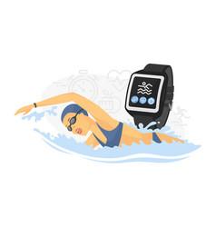 Swimming - modern colorful cartoon vector