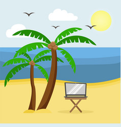 table with laptop on the sandy beach with palm vector image