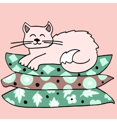 The cat on the pillow vector image