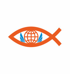 The globe and the symbol of fish vector