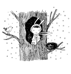 The story about a bunny tree hollow nest bird vector