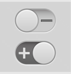 Toggle switch slider buttons with minus and plus vector