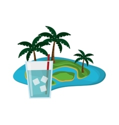 tropical island and glass of water icon vector image