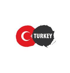 Turkey flag on a white vector