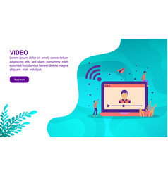 video concept with character template for banner vector image