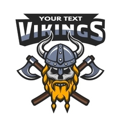 Viking warrior skull label emblem vector image vector image