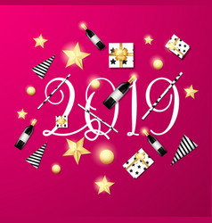 welcome 2019 pink background template vector image