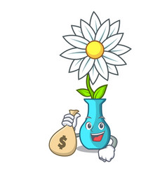 With money bag vase with bouquet of beautiful vector