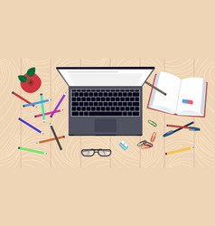 workplace desk top angle view laptop book and vector image