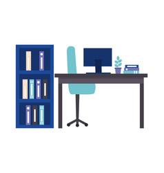 workspace desk computer bookshelf folders plant vector image