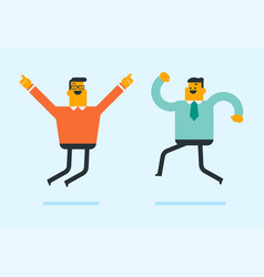 young caucasian white friends jumping vector image