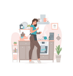 young female cooking in kitchen at home vector image