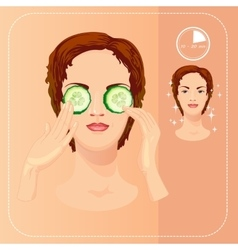 Young woman cares her face with cucumber slices vector