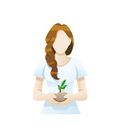 young woman holding soil and flower in her hand vector image