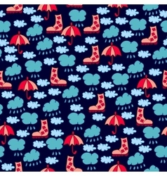 Autumn seamless pattern with clouds raindrops vector image