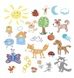 Childrens drawing doodle animals trees vector image