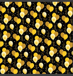 gold balloons and confetti pattern on black vector image vector image