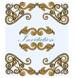 Gold damask ornament invitation vector image vector image