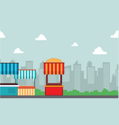 landscape of street stall with building background vector image vector image