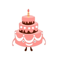Layered Big Cake With One Candle Children Birthday vector image vector image