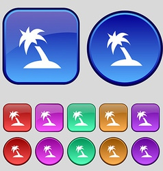 Palm tree travel trip icon sign a set of twelve vector