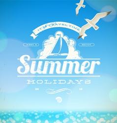 Summer holidays emblem with yacht vector