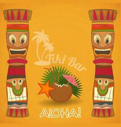 Vintage Hawaiian Tiki bar vector image vector image