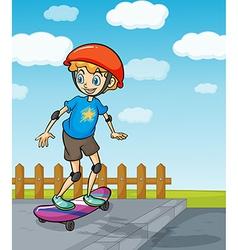 A boy playing skatboard vector image