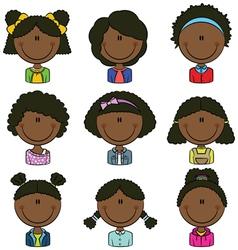 African American girls avatar vector image