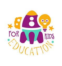 education for kids logo symbol colorful hand vector image vector image