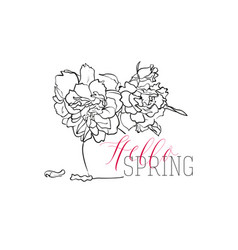 hello spring greeting card lettering with vector image