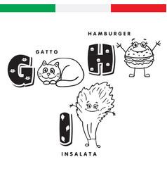 italian alphabet cat hamburger lettuce vector image vector image