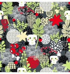 Seamless pattern with nature and skulls vector image vector image