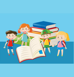books and happy children vector image