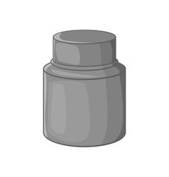 Cream plastic jar icon black monochrome style vector image