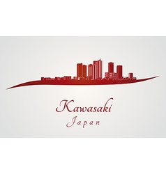 Kawasaki skyline in red vector image vector image
