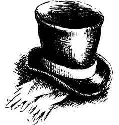 top hat and gloves vector image vector image