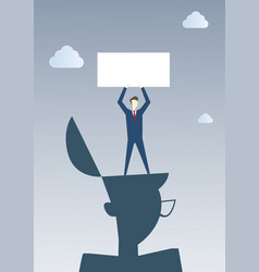 Business man standing on big businessman head vector